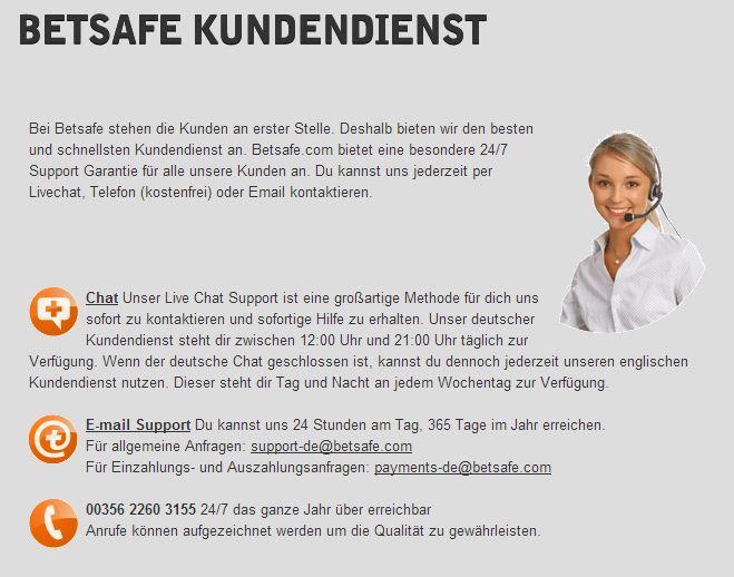 Betsafe-Kundendienst